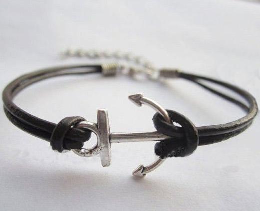 Leather  little anchor bracelet,
