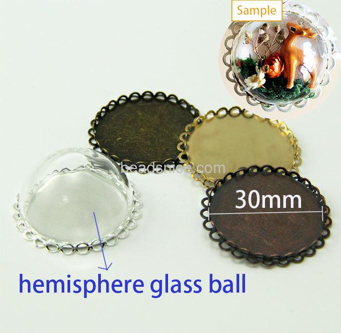 Clear Hand Blown Glass Hemisphere Balls