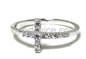Sideway Cross Sterling Silver Ring