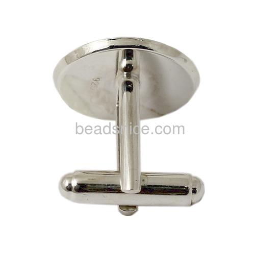 Cufflink blanks 925 Sterling silver cufflink findings round for men fit 16mm round