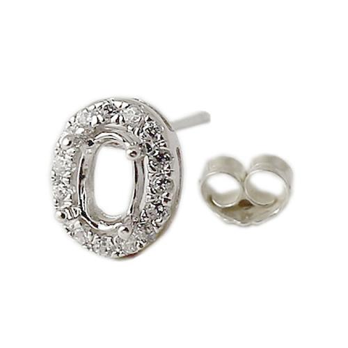 925 Silver oval shape settings earrings stud