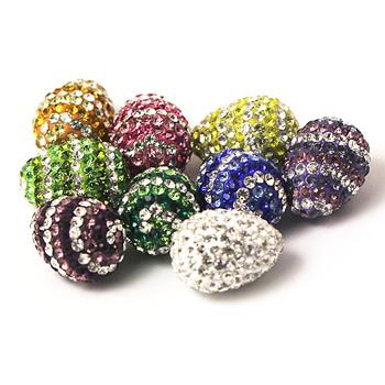 Fashion pendant rhinestone swirl polymer clay teardrop pendant beads