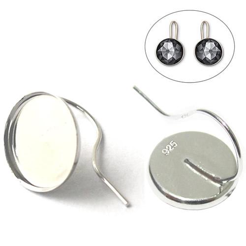 Silver earring hook French earrings women round cabochon blanks tray wholesale earrings jewelry settings sterling silver DIY gif