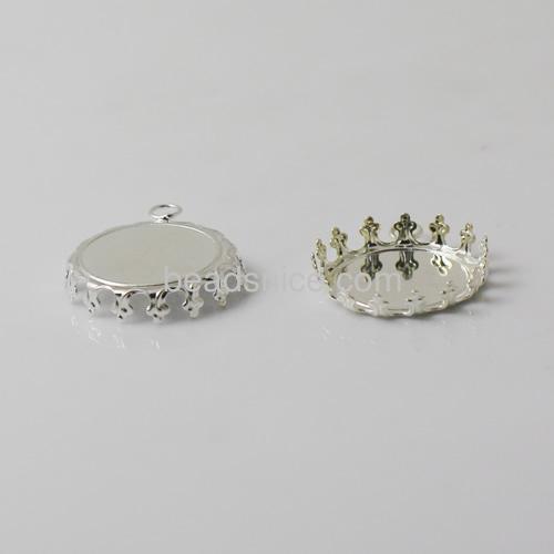 Pendant setting Jewelry pendant findings brass hand rack plating nickel-free lead-safe flat round