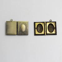 Brass Pendant, Album box, Rectangle, 19x23mm,inside diameter 10.3x14.9mm,Nickel free, Hole:Approx 2MM,