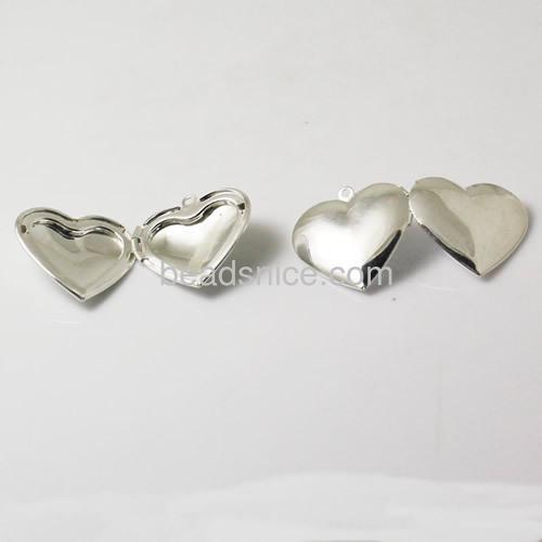 Brass Pendant, Album box,Heart,silver plated, 27.5x29mm,inside diameter 21x17mm,Nickel free, Lead Free,Hole:Approx 2MM,