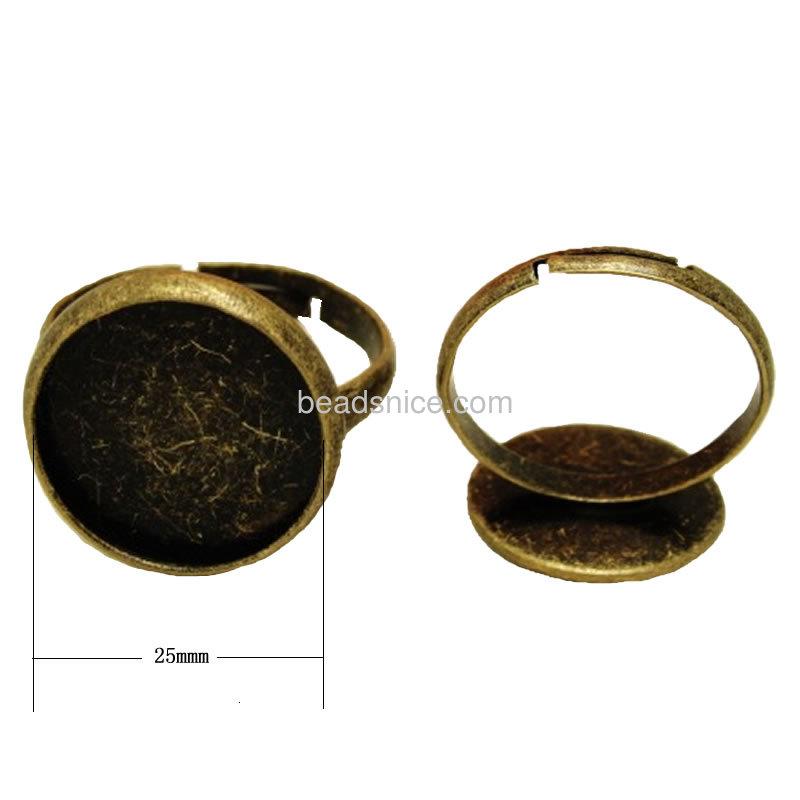 Brass finger ring settings,adjustable ,lead-safe,nickel-free
