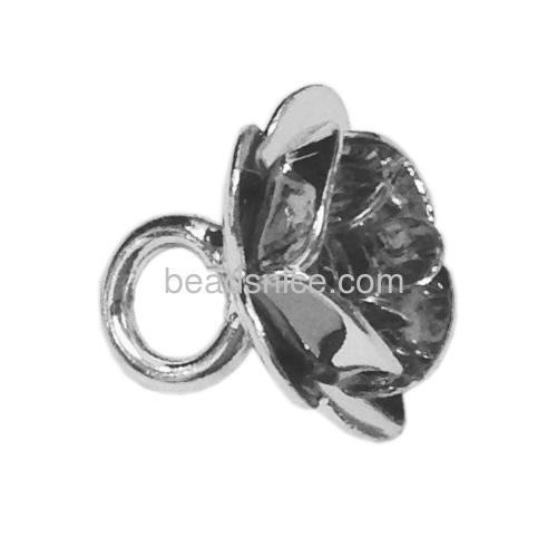 Elegant rose flower pendant base with vintage stone for women neckalce findings