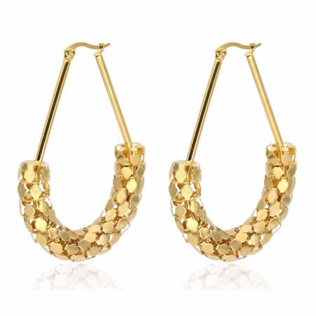 Stainless Steel Ladies Drop Hoop Earrings