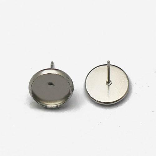 316 Stainless Steel Round 10mm Bezel Earrings on Post