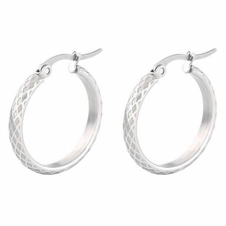 Round Circle Hoop Gold Stainless Steel Earrings
