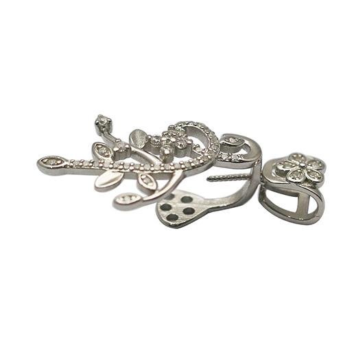 925 Sterling Silver Rhinestone Bail Twisted Pin Gemstone Pendant Clasp Slide