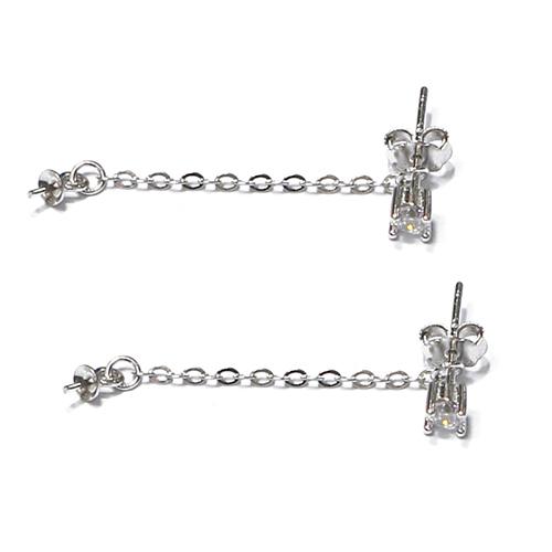 Sterling Silver Thread Through Long Line Pearl Earrings Bail