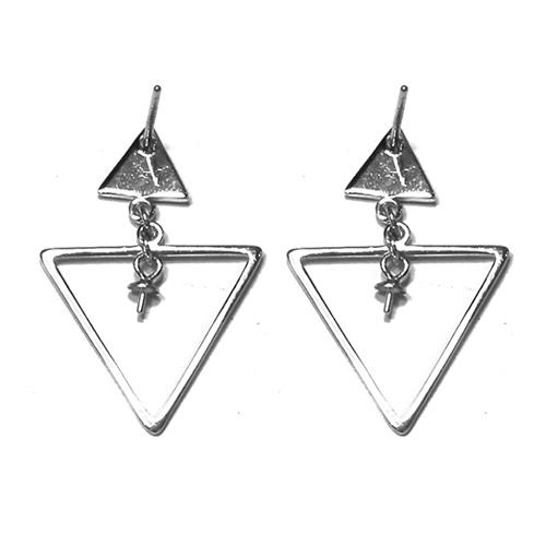 925 Sterling Silver Lovely Triangle Dangle Thread Line Threader Earrings