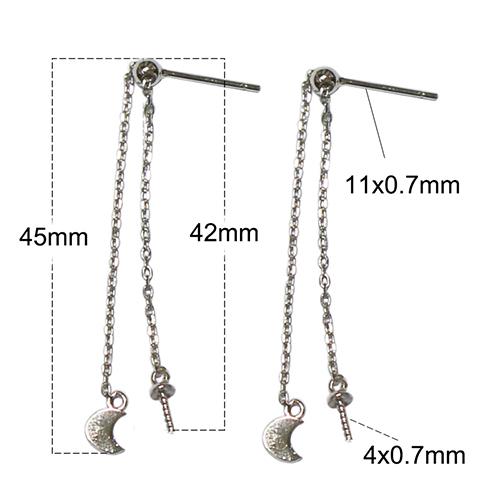 925 Sterling Silver Dangle Long Crescent Moon Charm Post Stud Earrings