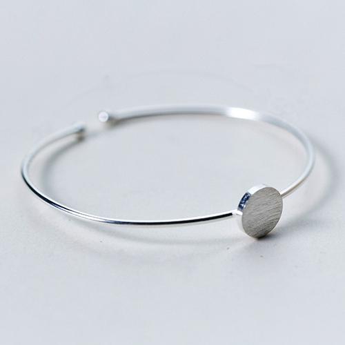 925 Sterling Silver Round Base Bangle Bracelet
