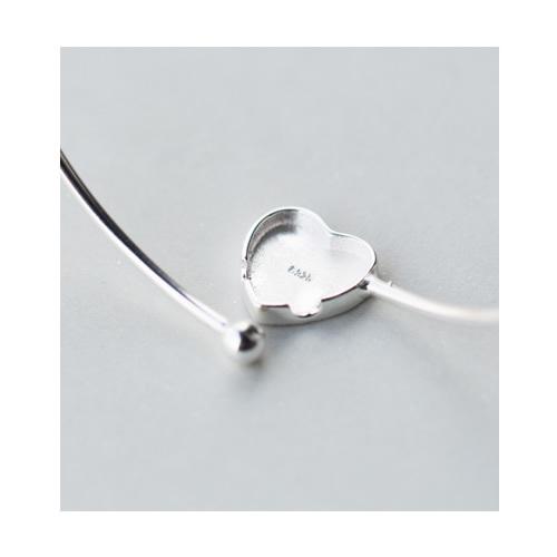 925 Sterling Silver Heart Bezel Women Bangle
