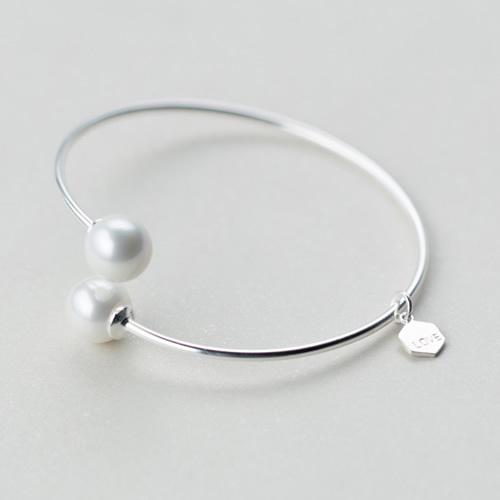 Pure S925 Sterling Silver Pearl Bangle