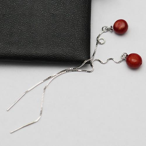 925 Sterling Silver Long Chain Post Stud Earrings
