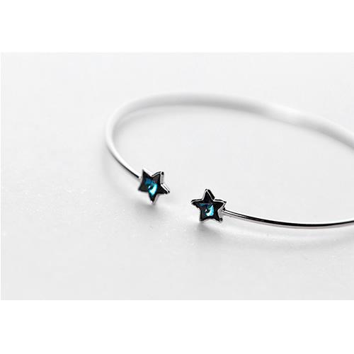 925 Sterling Silver Double Star Bracelet for women