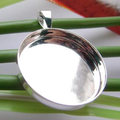 925 Sterling Silver Round Pendant,Pendant Blank,Pendant Settings,Pb-free & Ni-free & Cd-free & Zn-free,,25.4x25.4mm,hole approx