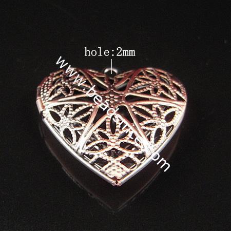 Brass Pendant, Album box, Heart, 18.7x14.1mm,Nickel free, Hole:Approx 2MM,