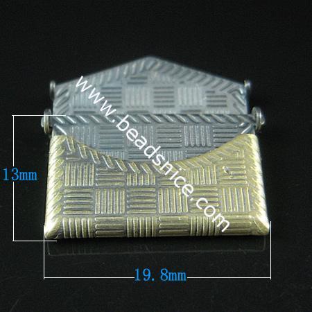 Brass Pendant, Album box, Rectangle , 13x19.8mm,Nickel free, Hole:Approx 1.5MM,