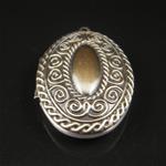 Brass Pendant, Album box, Oval, 37.8x27mm,inside diameter 29x17.8mm,Nickel free, Hole:Approx 2MM,