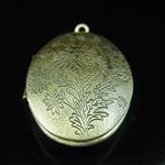 Brass Pendant, Album box, Oval,antique brass, 37.8x27mm,inside diameter 29x17.8mm,Nickel free, Hole:Approx 2.3MM,