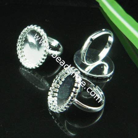 Brass Adjustable Ring Base,nickel free,lead safe,for design,Oval,inside diameter 17mm,base diameter:13.5x18mm,