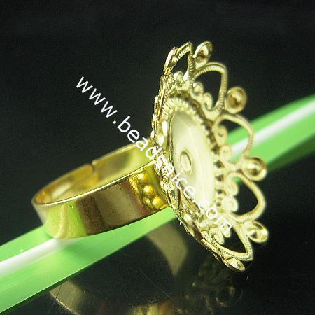 Brass Filigree Ring Base,size: 8,flower
