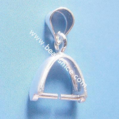 Sterling silver pendant bail, pinch, 15x9mm,