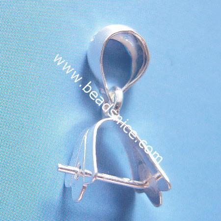 Sterling silver pendant bail, pinch, 20x7mm,