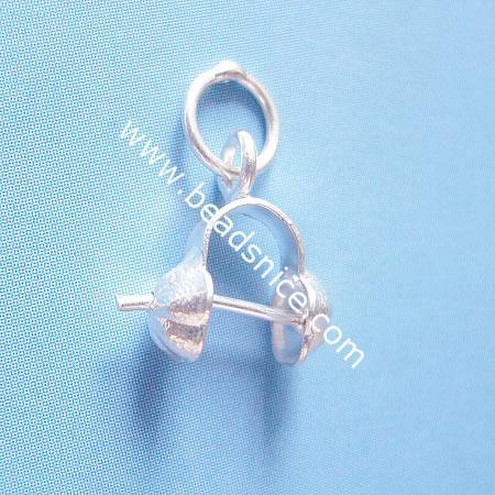 Sterling silver pendant bail, pinch,15x5mm,