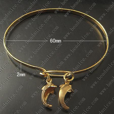 Bracelet, Brass,2mm,7.5inch,pendant:18X9mm,