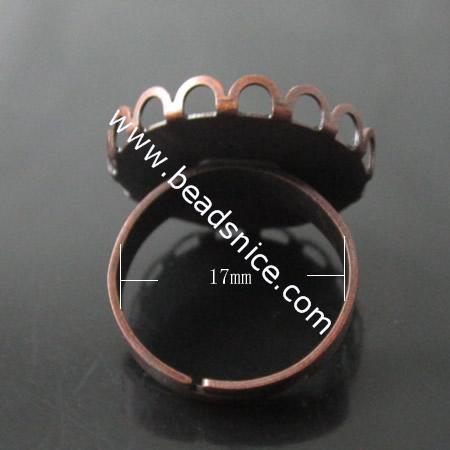 Brass Finger Ring Finding,Round,20mm,Depth:2mm,Inside Diameter:17mm,Nickel-Free,Lead-Safe,